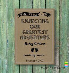 PRINTABLE Baby Announcement Card–Printable Pregnancy Announcement Card–Airplane Baby Reveal-Plane Pregnancy Reveal Card-Adventure Baby-38