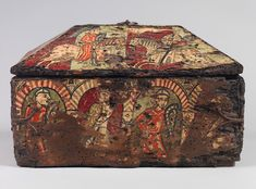 Back panel of the painted wood box with the Legend of Guilhem of Orange showing Guilhem's fellow Franks traveling through the secret passageways