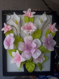 Create A Beautiful Decorative Painting With Artificial Flowers And Use It To Decorate, Give Or Generate Extra Income D Flowers, Paper Flowers Diy, Handmade Flowers, Flower Crafts, Polymer Clay Flowers, Ceramic Flowers, Flower Frame, Flower Art, Polymer Clay Embroidery