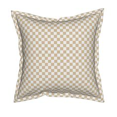Serama Throw Pillow featuring Pretty Shabby Chic Beige Gingham by thatsgraphic | Roostery Home Decor