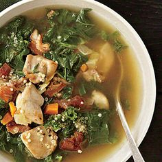 Chicken, Kale, and Quinoa Soup -- use turkey bacon and boneless, skinless chicken breasts for a great Phase 1 soup.