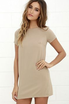 Lulus Exclusive! Shimmy, shuffle, and shake in the Shift and Shout Beige Shift Dress, because you know you look so good! Woven poly fabric shapes a rounded neckline atop a darted bodice with short sleeves. The shift silhouette falls into a flirty, leg-baring length. Exposed gold back zipper.