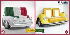 """If you were to decorate your #LivingRoom with these funky Car Seaters which one would you pick? """" A"""" or """"B"""" ? Comment."""