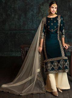Teal and Cream Velvet Palazzo Suit Dress Indian Style, Indian Dresses, Indian Wear, Indian Outfits, Pakistani Dresses, Indian Bridal Lehenga, Pakistani Bridal Wear, Classy Outfits, Trendy Outfits
