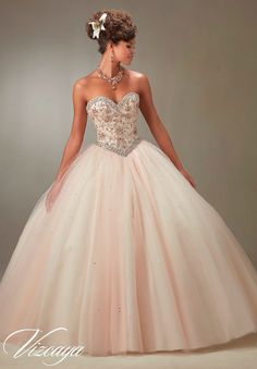 Mori Lee Vizcaya Quinceanera Dress Style 89073 is made for Quinceanera girls who want to look like a beautiful Princess on her Sweet 15. Made out of tulle, this ball gown features a strapless sweethea