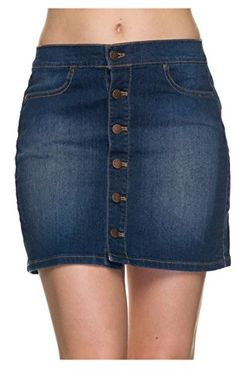 Tabeez Women's Casual Distressed Faded Light Wash Denim Mini Pencil Skirt