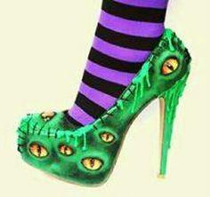 The Bogeyman Halloween High Heels by NixxiRose Goth Shoes, Shoes Heels, Pumps, Heeled Sandals, Pretty Shoes, Beautiful Shoes, Halloween Heels, Scary Halloween, Halloween Treats