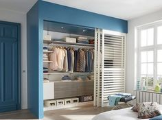 A petrol blue color around the room … - Home Decor ideas Bedroom Closet Design, Bedroom Wardrobe, Wardrobe Closet, Closet Designs, Wardrobe Doors, Bedroom Furniture, Home Furniture, Bedroom Decor, Bedroom Cupboards