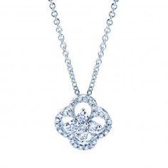 Diamond Cluster and Frame Diamond Pendant Necklace