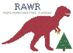 Dinosaur for Merry Christmas cross stitch pattern T-Rex Holiday chart .pdf. $5.00, via Etsy.