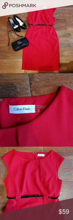 NWOT Calvin Klein Red Sheath Dress Sz 10 New without tags Calvin Klein Red Sheath Dress Sz 10. Gorgeous! Armpit to armpit flat 19 inches plus some stretch if needed  (~1 inch). From smoke and pet free home. No rips tears stains scents or snags. Small scuff on belt. Shoes not included but sold in separate listing in my closet. Purse not included. Check out my closet! ADD TO BUNDLE to save! FAST SHIPPING! Calvin Klein Dresses Midi
