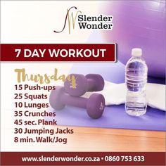 Crunches, Lunges, Squats, Slender Wonder, 7 Day Workout, Jumping Jacks, Jogging, At Home Workouts, Push Up