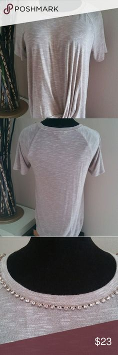 Juicy Couture Twist Front Tee Gorgeous twist front tee with rhinestone detail at the collar in Moon Rock. XL fits true to size. Juicy Couture Tops Tees - Short Sleeve