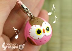 Owl bell cell phone strap