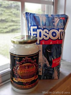 Homemade body scrub-2 parts Epsom salts, 1 part coconut oil. Add essential oil for fragrance and scrub!