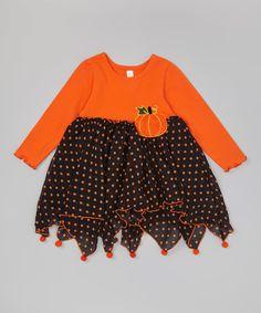 Look at this Orange & Black Pumpkin Pom-Pom Dress - Infant, Toddler & Girls on #zulily today!