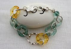 QUATREFOIL BLUE YELLOW  Silver & Murano by AncientSunDesigns