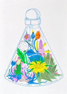 Zoo Flask A4 / 5 colour Risograph print For Landfill Editions