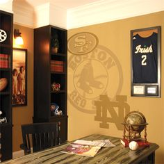 A good way to incorporate all of your teams in your sports den