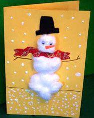 Cotton Ball Holiday Cards: Christmas Arts & Crafts Activity (Pre-K - 8th Grade) - FamilyEducation.com
