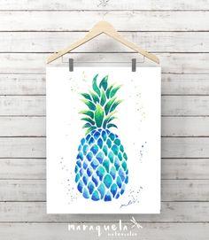 BLUE PINEAPPLE illustration in original watercolor. Artwork, decoration, ananas, colorful, ideas decor kitchen, living-room, prints pineaple