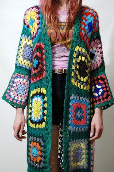 Crux and Crow granny square vintage crochet cardigan #crochet #grannysquare #vintage #70sfashion #gypsy #bohemian