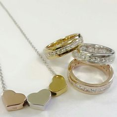 Tri gold heart necklace with tri gold rings