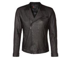 $589, Black Leather Biker Jacket: CENT S Leather Jacket Black. Sold by Zalando. Click for more info: https://lookastic.com/men/shop_items/290995/redirect