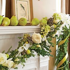 Christmas Decorating Ideas: Mantel Garland with Boxwood and Flowers