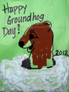 Handprint Groundhog w/puffy paint snow #kidscraft groundhogs day