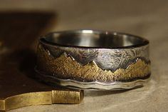 Mountain Lake. Mans ring of 18K gold and sterling by IrinisWorld