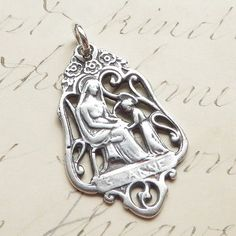 Sterling-Silver-St-Anne-Medal-Patron-of-mothers-Antique-Replica