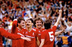 Ian Rush, Kenny Dalglish and Ronnie Whelan join Jan Molby to celebrate Double delight during the 1986 FA Cup final against Everton Liverpool Football Club, Liverpool Fc, Eric Cantona Kick, Paul Walsh, Ian Rush, Merseyside Derby, Kenny Dalglish, England Shirt, Brendan Rodgers