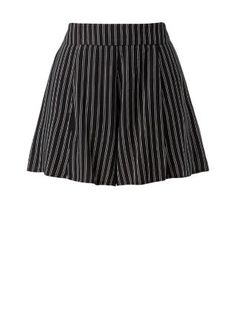 Petite Black Stripe Print Shorts    New Look