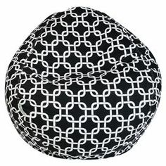 """Indoor/outdoor beanbag in black with a chain link trellis motif and eco-friendly fill. Made in the USA. Product: BeanbagConstruction Material: Polyester-cotton twill cover and recycled polystyrene fillColor: Black and whiteFeatures: Zippered slipcover with 1000 hours of UV protectionSuitable for indoor and outdoor useMade in USA Outdoor treatedDimensions: 22"""" H x 28"""" DiameterCleaning and Care: Slipcover can be washed in cold water and with a mild detergent. Hang dry."""