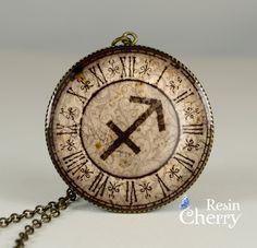 Zodiac scrabble tile pendant,art jewelry pendants,Sagittarius resin pendants- T0650CP. $7.50, via Etsy.