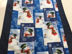 Winter Table Runner - Snowman Table Runner - Blue Table Runner - Christmas Table Runner - Winter Scene Table Runner - Snowmen and Snowflakes by SewWhatbyMindyKay on Etsy