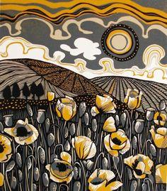 "Like the clouds, sun and fields Jane Walker ""Poppy Field"" Linocut Linocut Prints, Art Prints, Block Prints, Illustration Art, Illustrations, Poster Art, Scratchboard, Wood Engraving, Mellow Yellow"