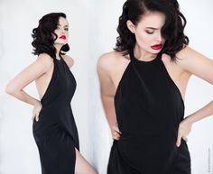 Ksenia Belova Photography Model: Juliette Elle Red lips Jessica Rabbit Sensual Black dress Model