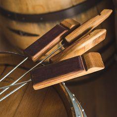 Marshmallow Roasting Sticks with Wine Barrel Stave Handles by Alpine Wine Design