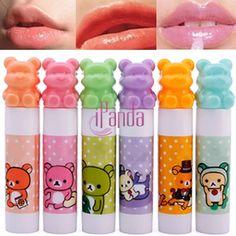 Urso bonito cosméticos hidratar batom Lip Balm mulheres criança DRES 67304(China (Mainland))