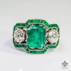 $8700 ANTIQUE ART DECO PLATINUM 3.68ctw. EMERALD & DIAMOND RING (GIA REPORT)