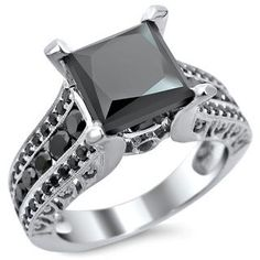 Shop for Noori 14k White Gold 3ct TDW Certified Princess Cut Black Diamond Ring. Get free delivery at Overstock.com - Your Online Jewelry…