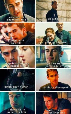 Haha his faces in these pics ! Divergent Memes, Divergent Four, Divergent Fandom, Divergent Trilogy, Divergent Insurgent Allegiant, Tris And Tobias, Tris And Four, Veronica Roth, Theo James