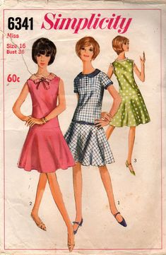 38e5c405b7bf Simplicity 6341 Womens Drop Waisted Dress 60s Vintage Sewing Pattern Size  16 Bust 36 Inches One