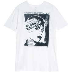 R13 Blondie T-shirt ($294) ❤ liked on Polyvore featuring tops, t-shirts, distressed t shirt, ripped t shirt, black tee, rock tees and torn t shirt
