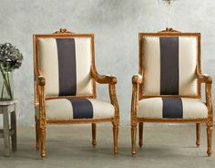 Pair Shabby Vintage Louis XVI French Style Square Back Armchairs Stripe. FrenchGardenhouse.com