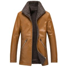 spring Autumn Winter Mens Leather High Quality Men's Sheepskin Jackets Plus Velvet To Keep Warm Casual Leather Coat Plus Size Leather Men, Leather Coats, Leather Jacket, Sheepskin Jacket, Fall Winter, Autumn, 5 Ml, Keep Warm, Velvet