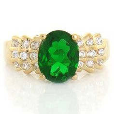10k Solid Yellow Gold Emerald- Green CZ Ring Jewelry ** Details can be found by clicking on the image.
