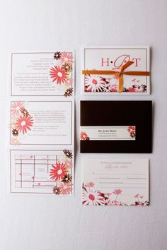 Folding yellow, pink and brown wedding invitations (open and folded).